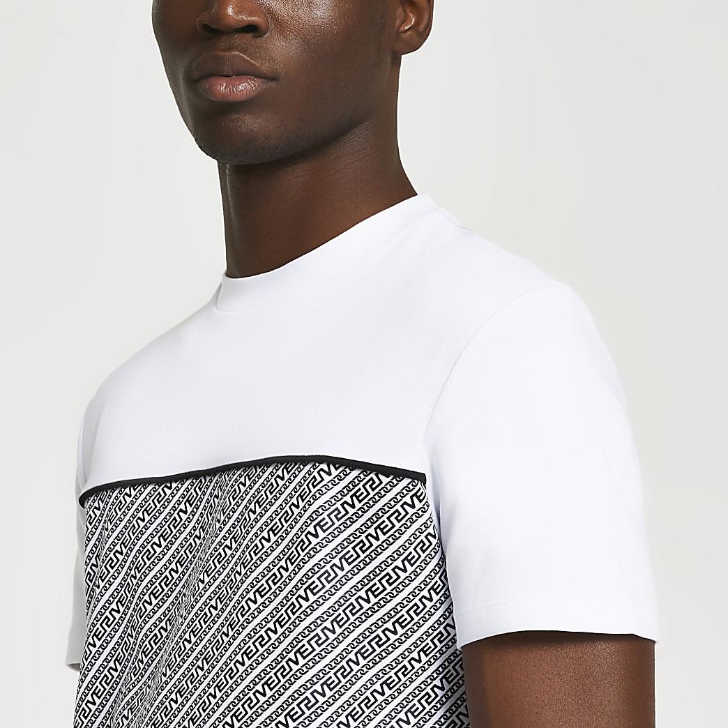 White Greek river panel slim fit t-shirt