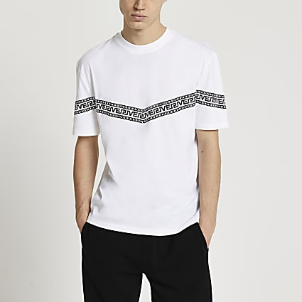 White Greek river stripe t-shirt