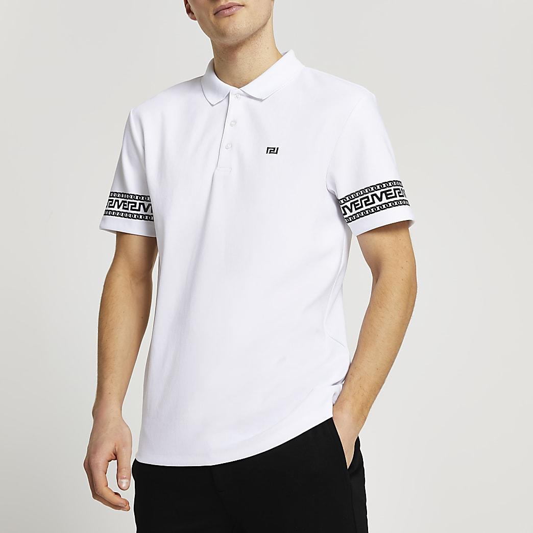 White Greek slim fit short sleeve polo shirt