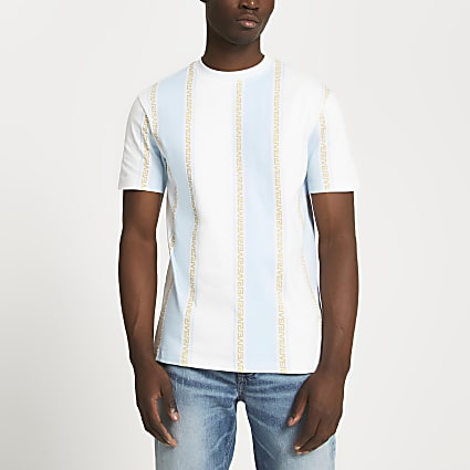 White Greek stripe slim fit t-shirt