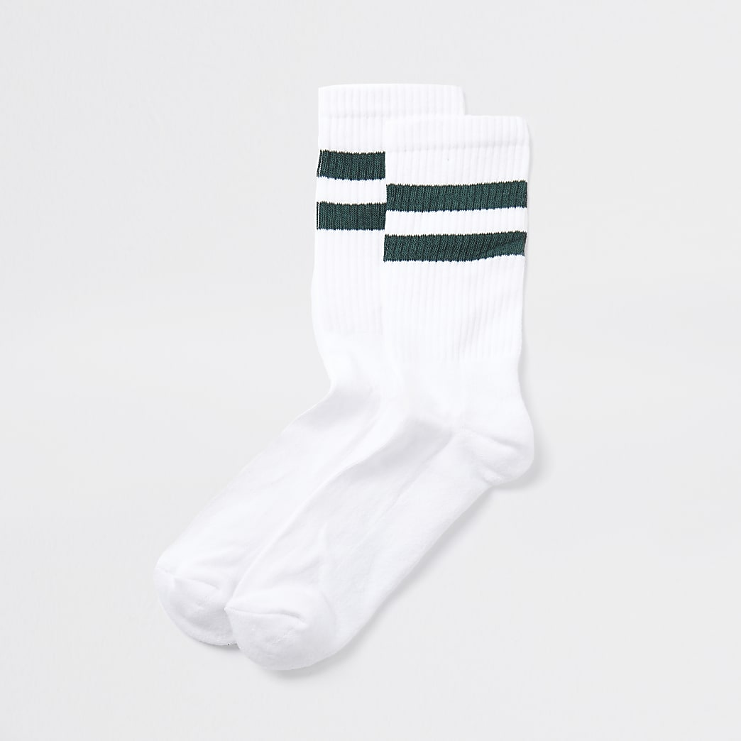 White green striped socks 1 pair