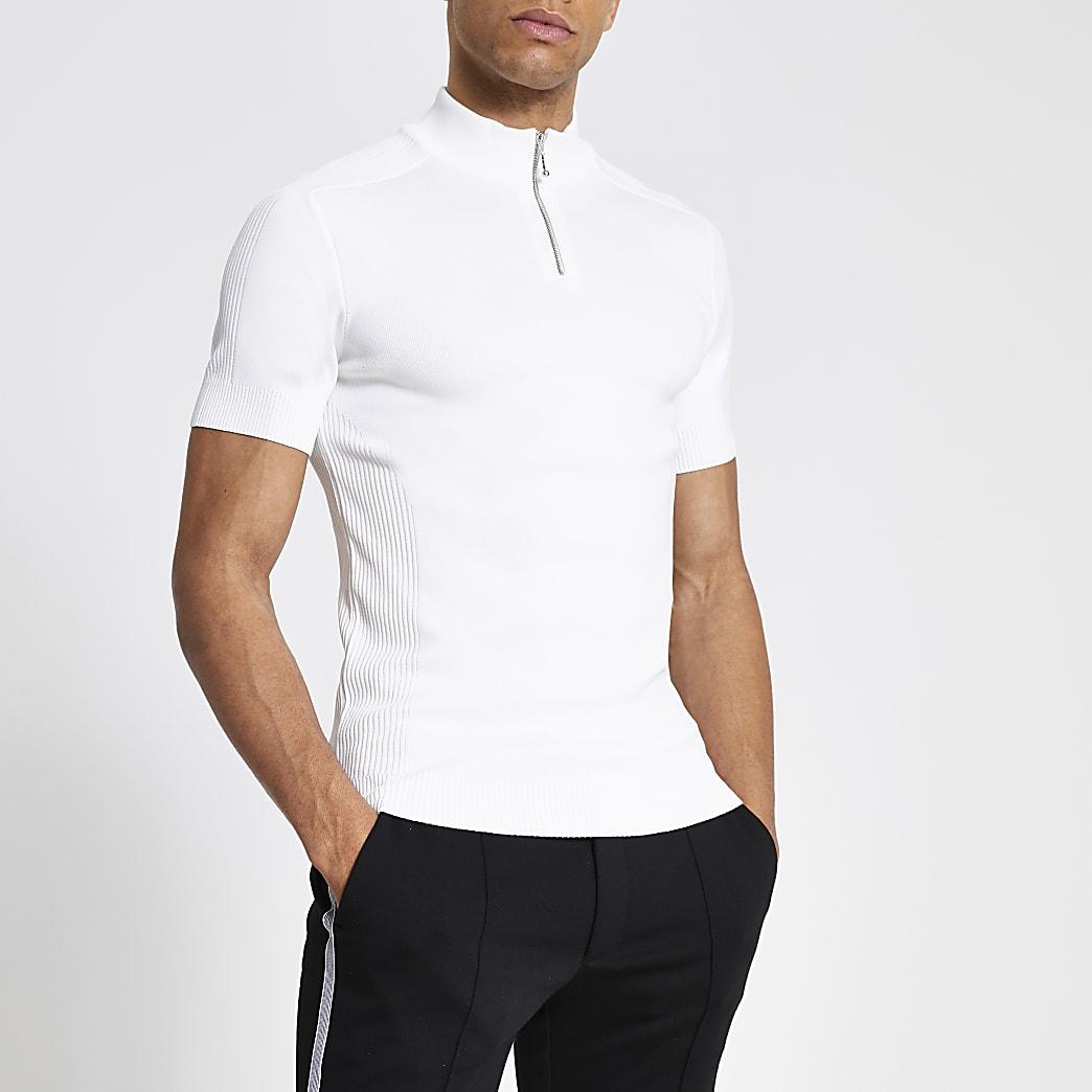 Wit gebreid T-shirt met korte mouwen en rits