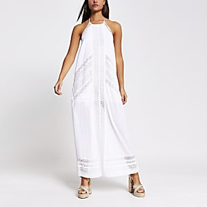 White halter maxi beach dress