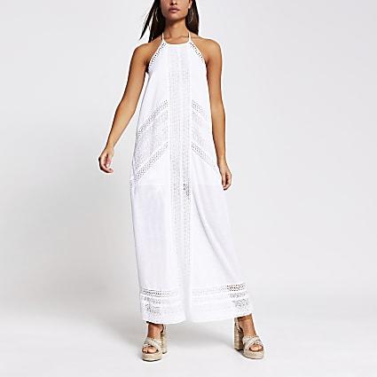 White halter maxi beach dress
