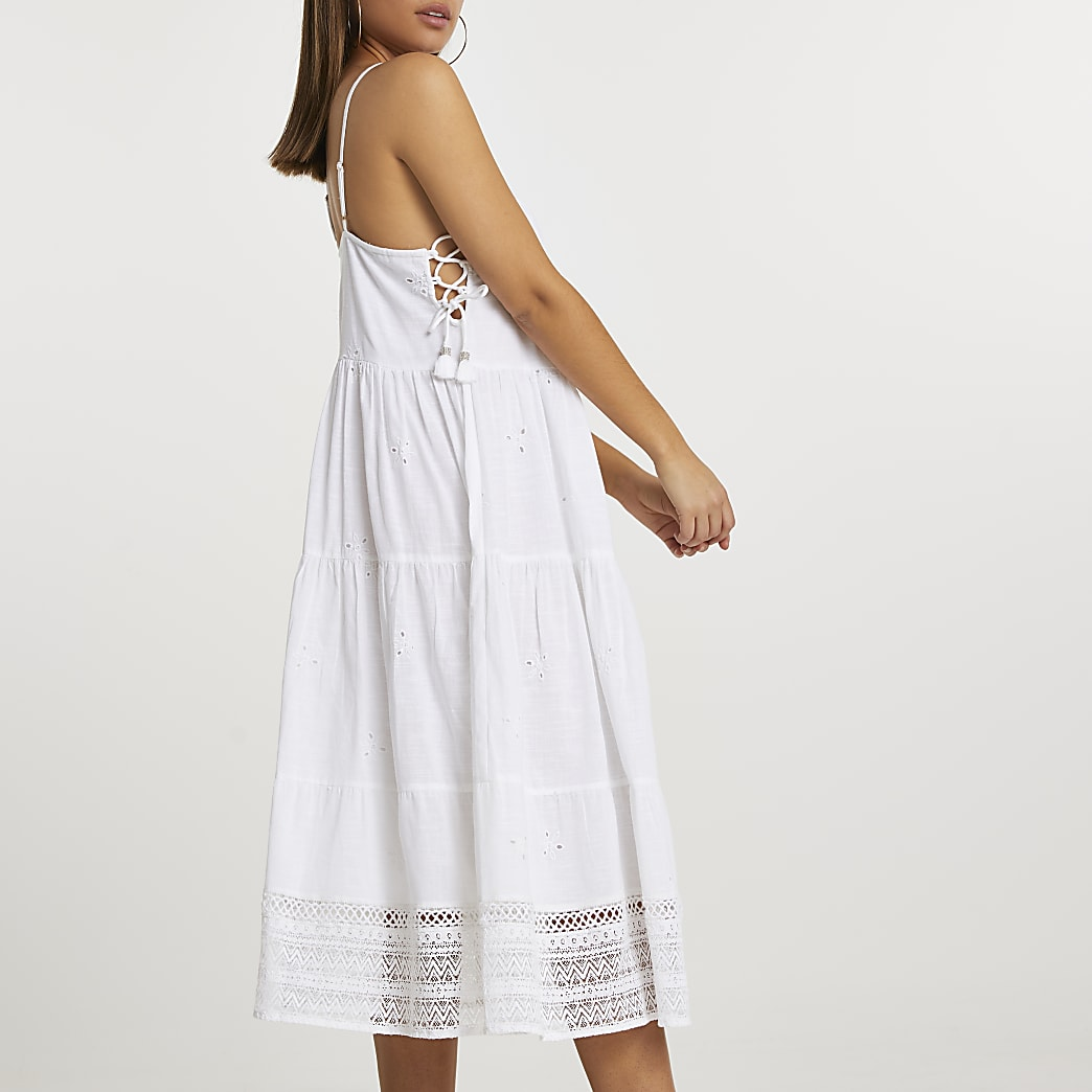 White halter neck lace cover up midi dress