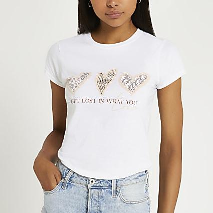 White heart graphic t-shirt