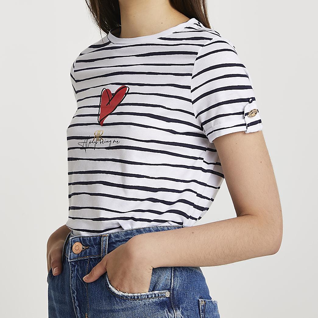 White heart striped turnback t-shirt