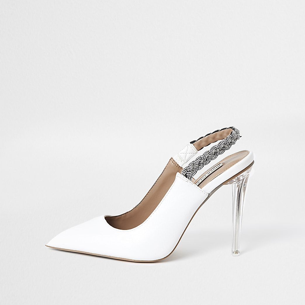 White heatseal embellished sling back heels