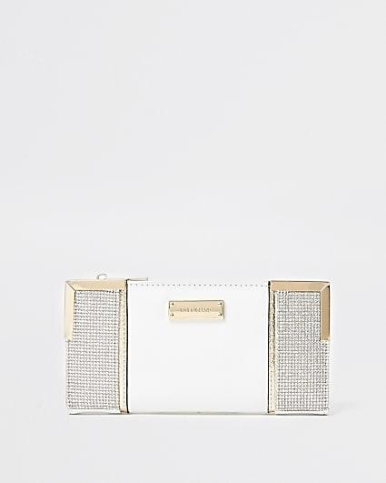White heatseal metal corner purse