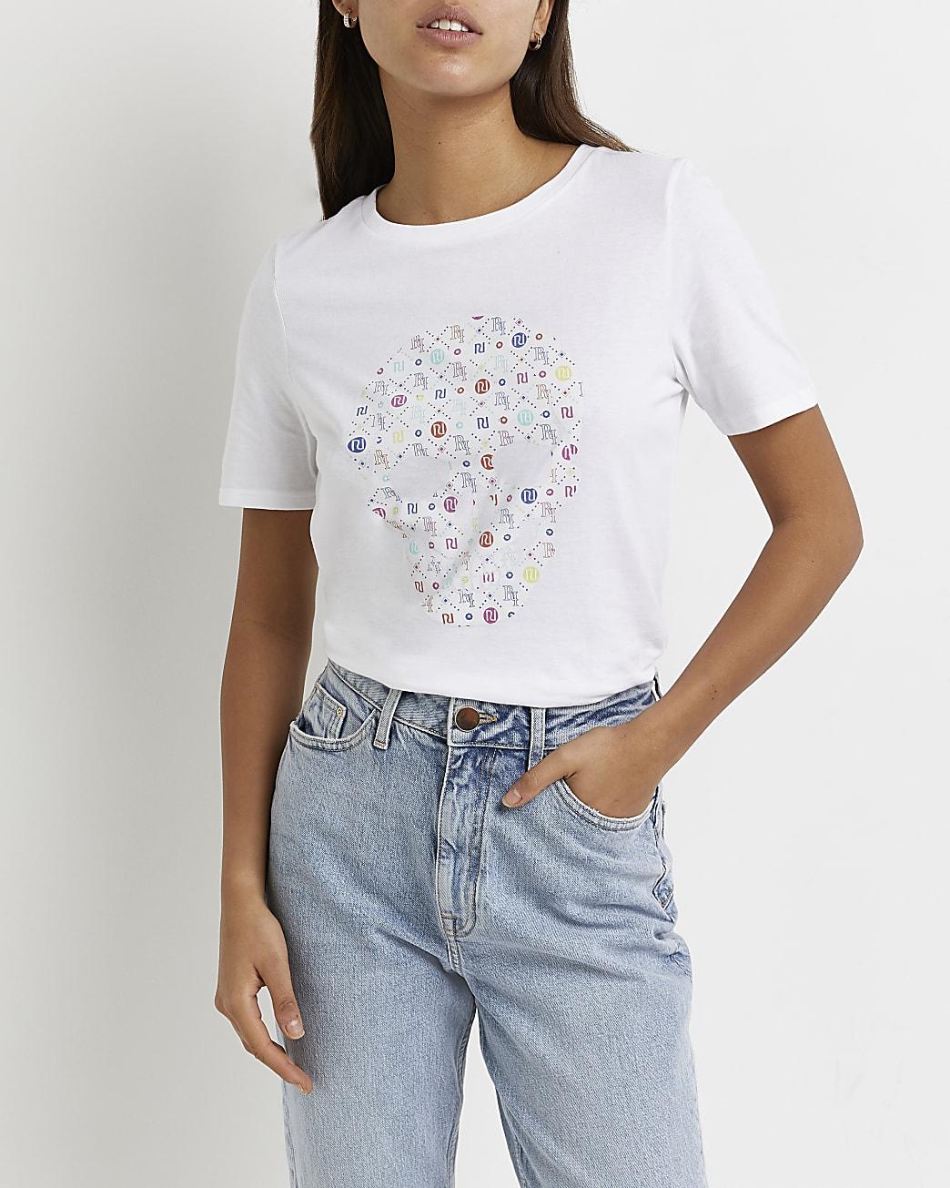White heatseal skull print t-shirt