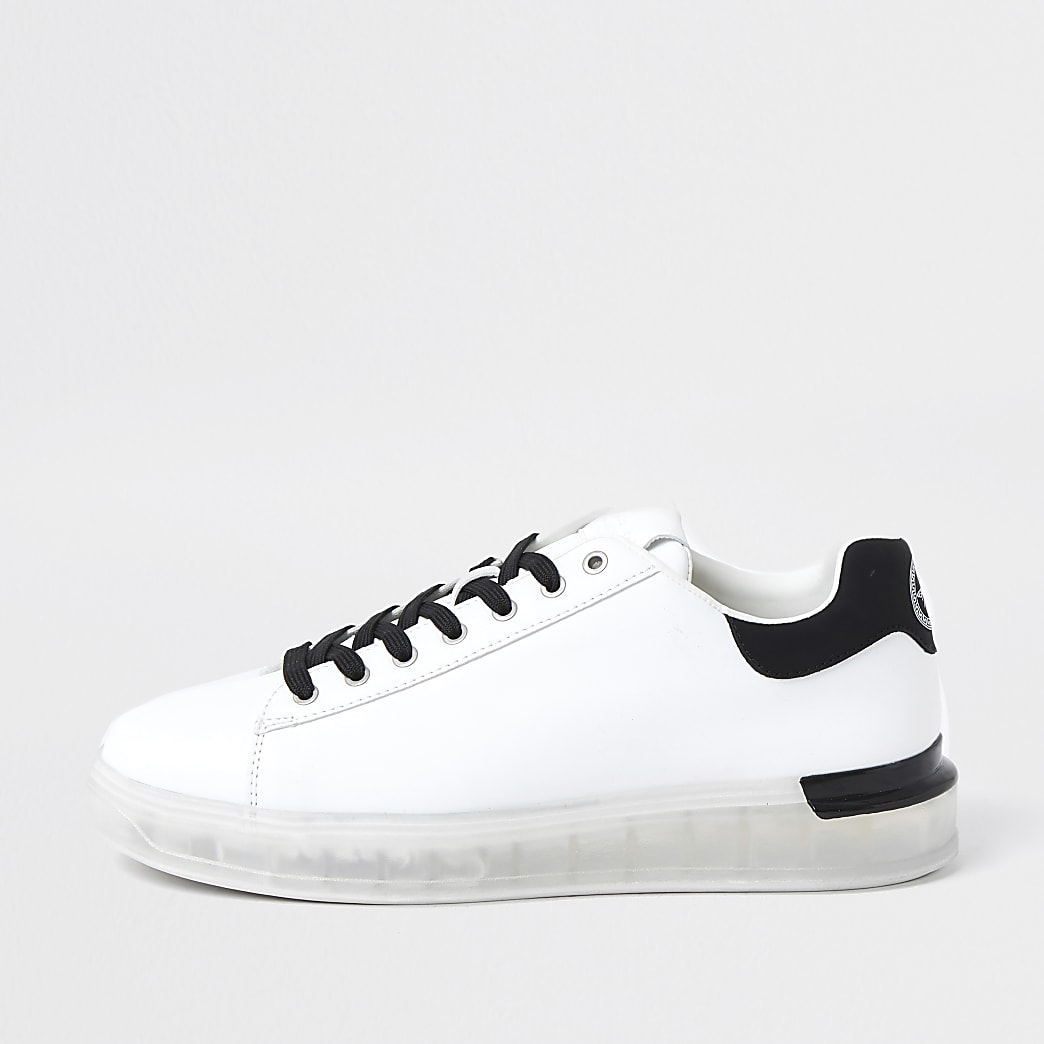 White heel clip trainers