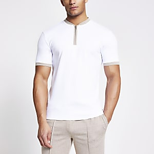 White herringbone trim half zip T-shirt