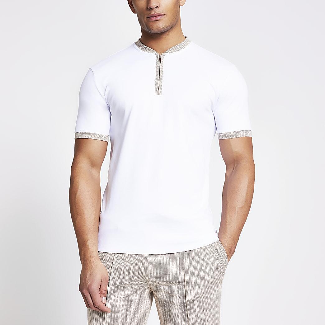 White herringbone trim half zip T-shirt