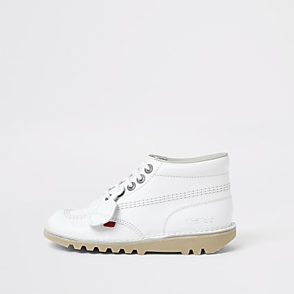 White hi top kicker boots