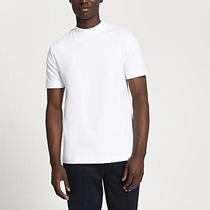 White high neck slim fit t-shirt