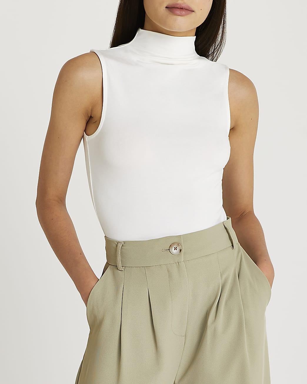 White high neck top