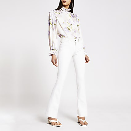 White high rise constrast stitch flare jeans