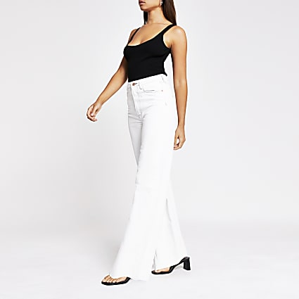 White high rise wide leg jeans