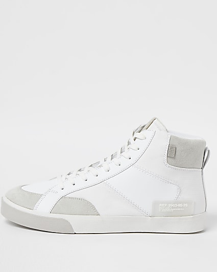 White high top lace up trainers
