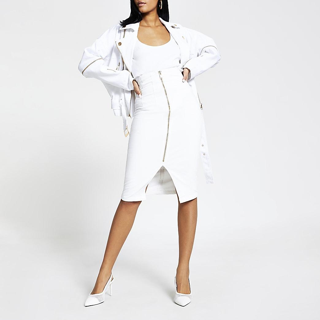White high waist midi denim skirt