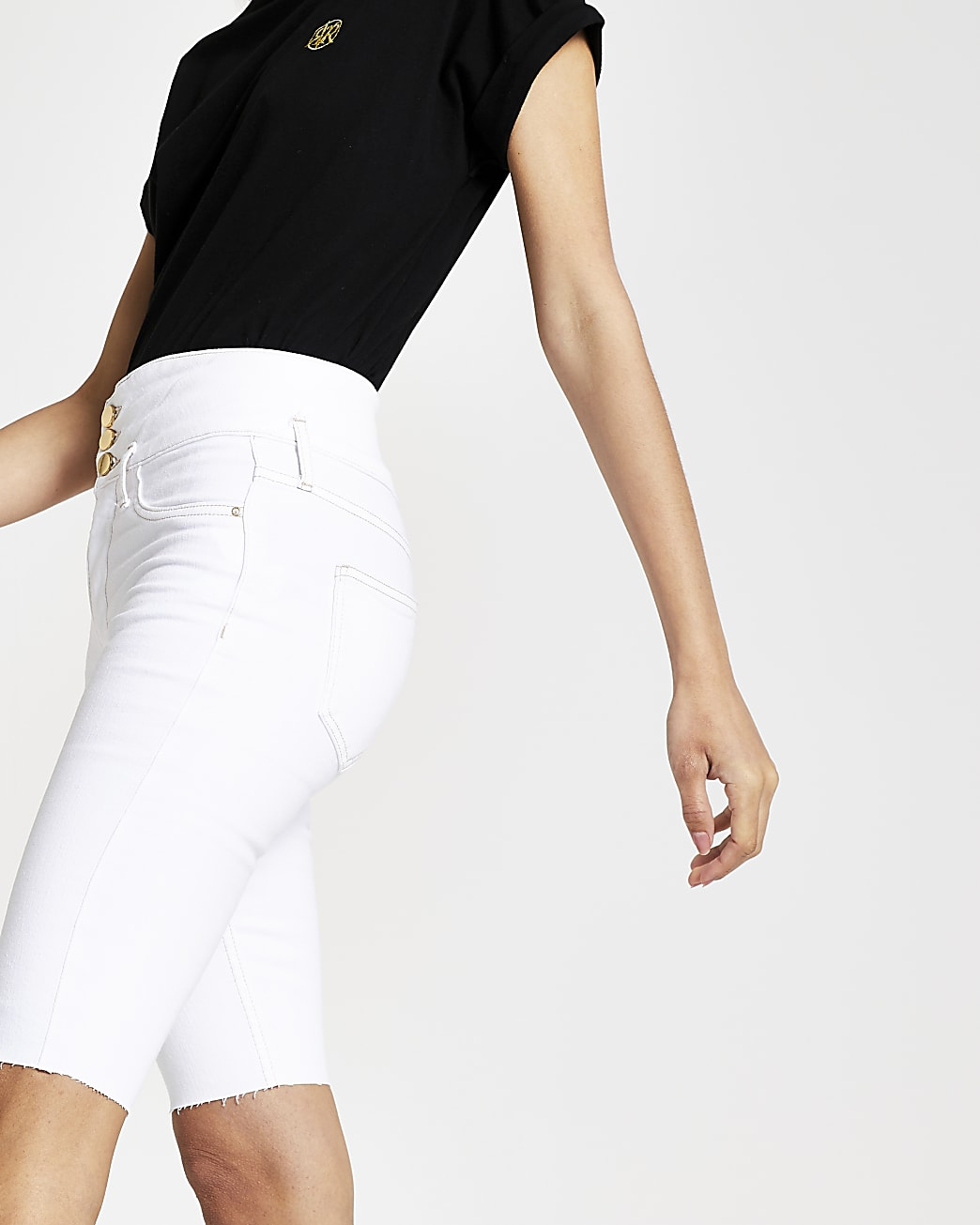 White High waisted cycling Short