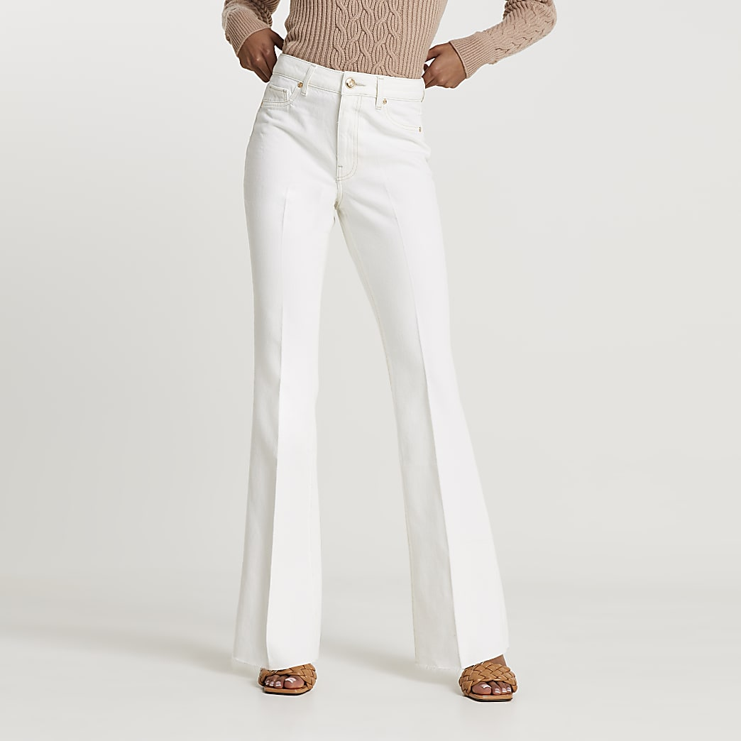 White high waisted flared jeans