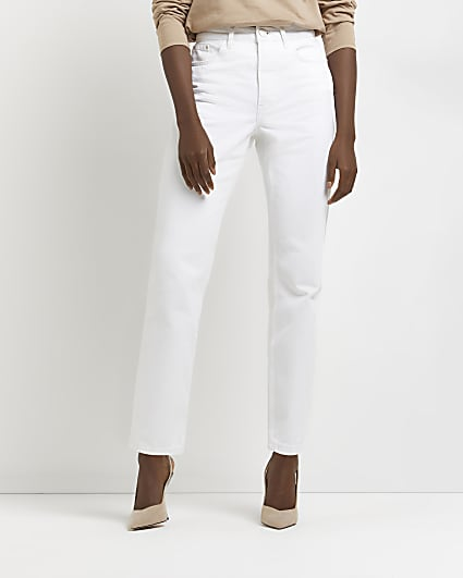 White high waisted straight jeans
