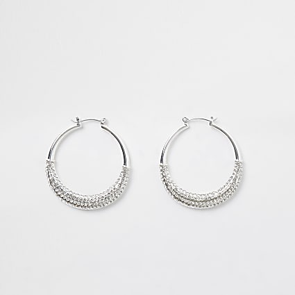 White hoop earrings