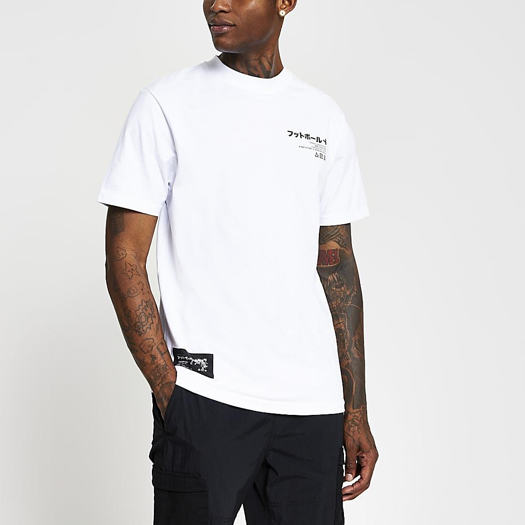 White Japanese print regular fit T-shirt