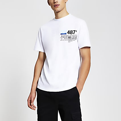 White japanese print regular fit t-shirt