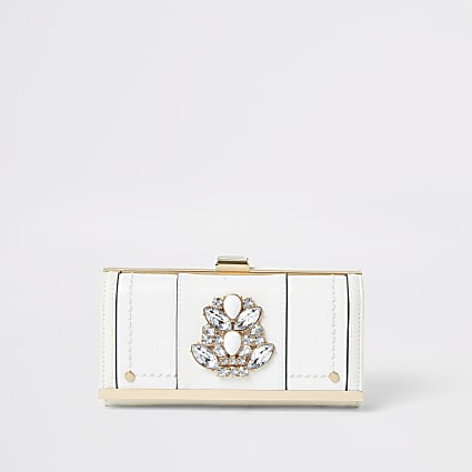 White jewel embellished cliptop purse