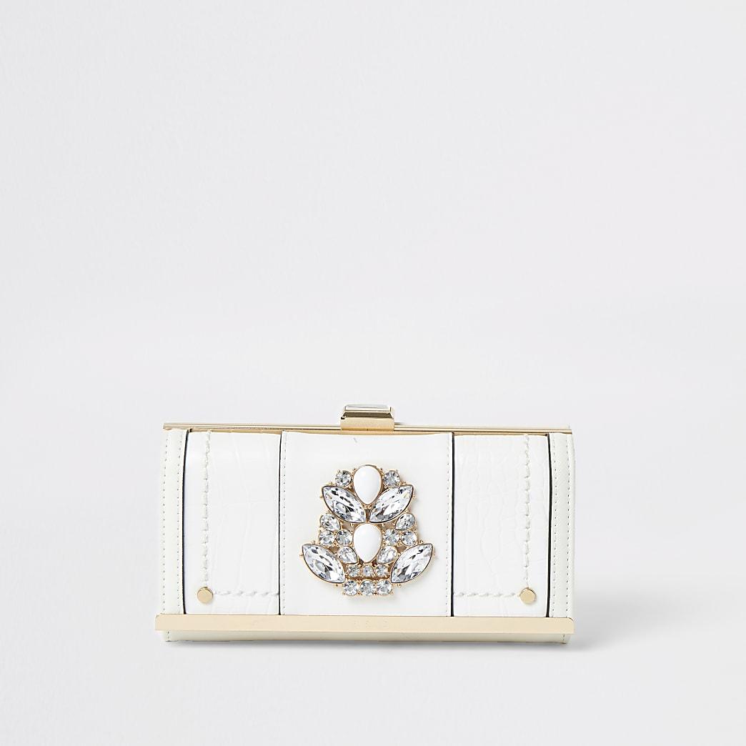 Portefeuille ornéde pierres fantaisie avec fermoir clip blanc