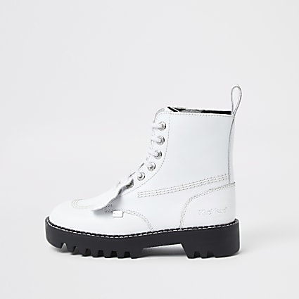 White Kickers ankle boots