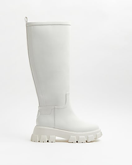 White knee high rubber chunky boots