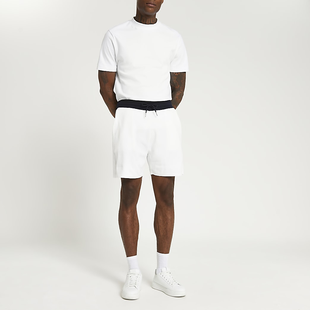 White knit elasticated contrast waist shorts
