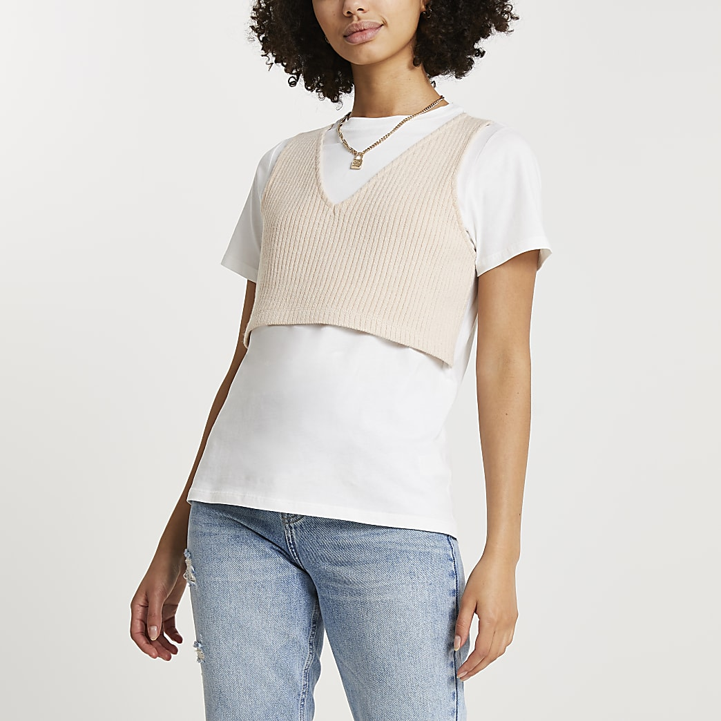 White knit vest short sleeve t-shirt