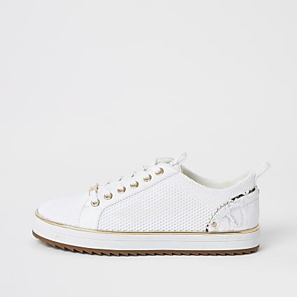 White knitted lace-up cleated trainers