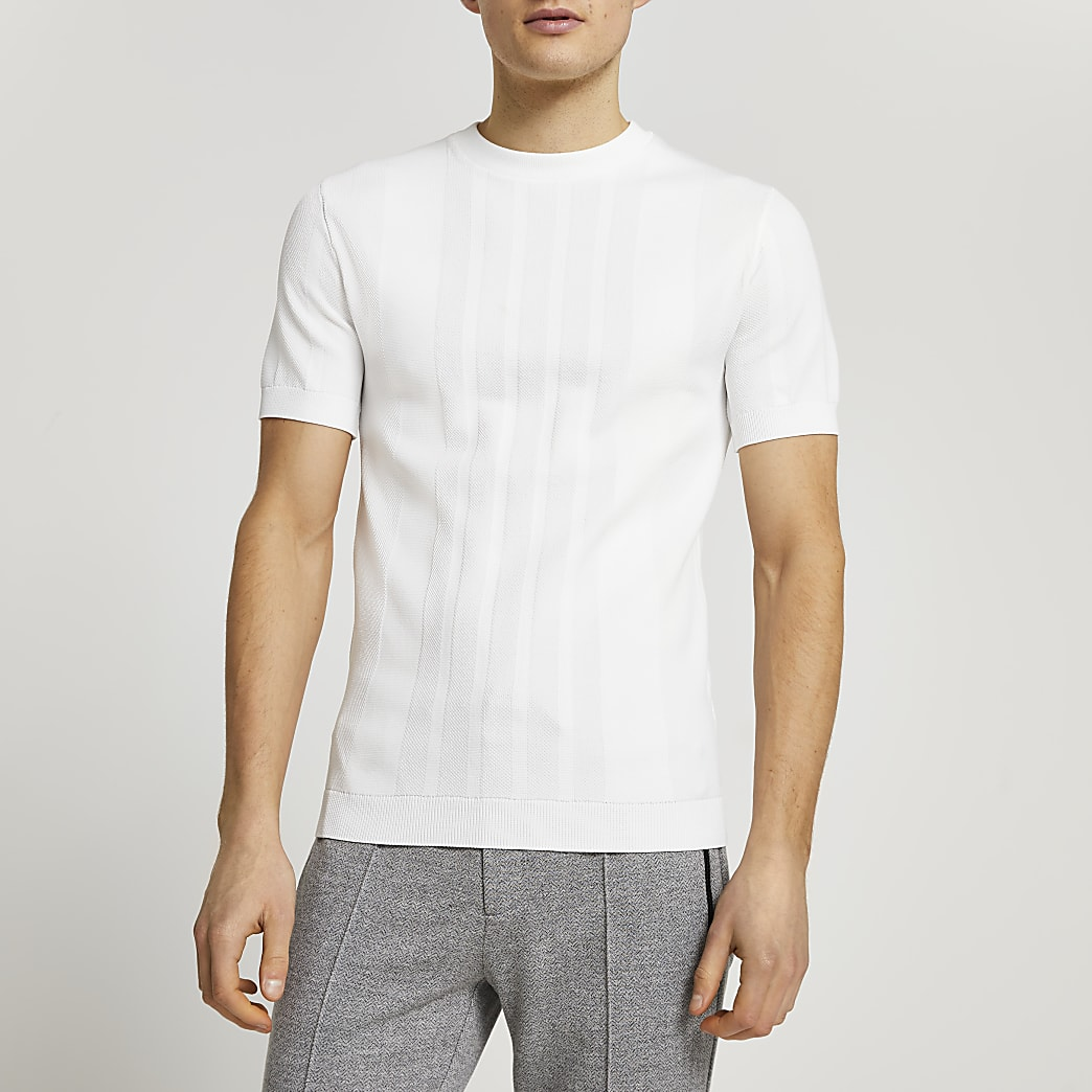 White knitted muscle fit short sleeve t-shirt