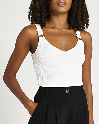 White knitted ribbed vest top