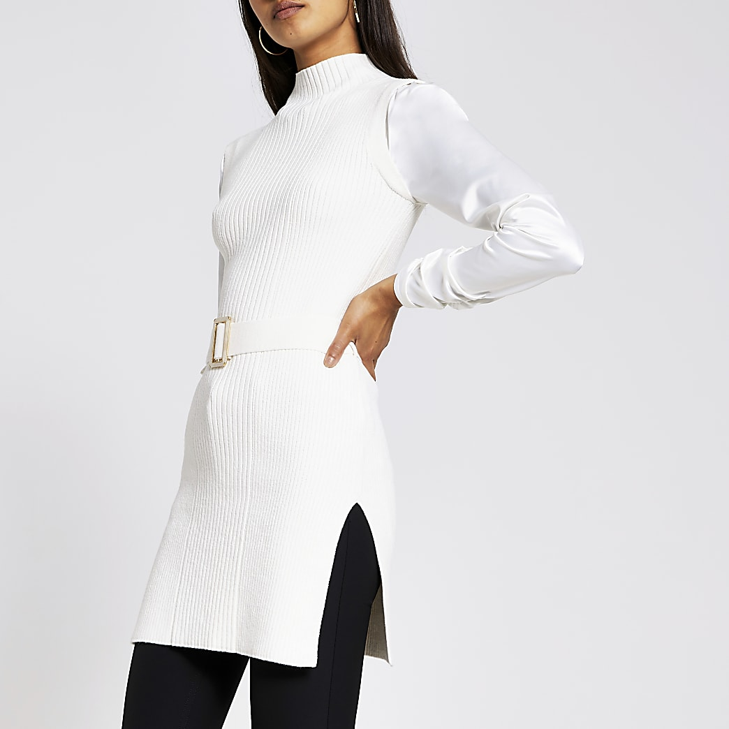 White knitted turtle neck belted top