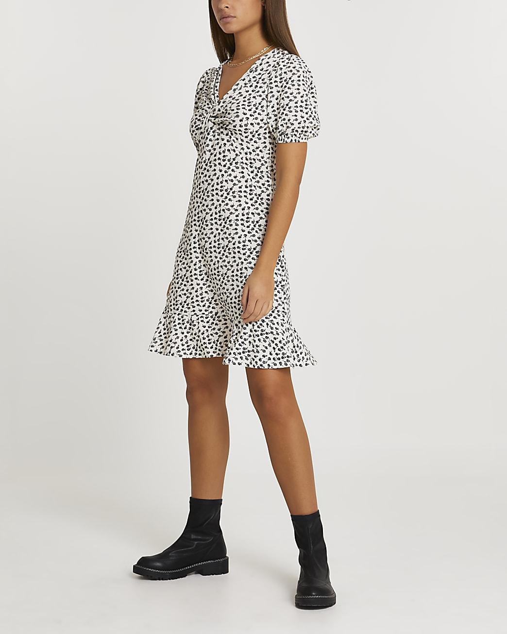 White knot front mini tea dress