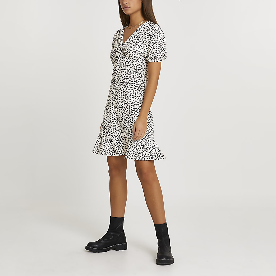 White knot front mini tea dress