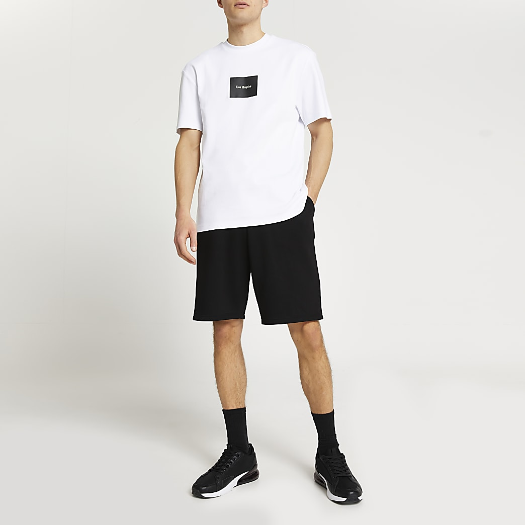 White LA slim fit t-shirt