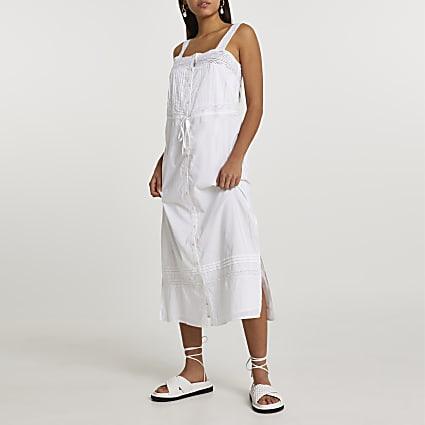 White lace cotton button up midi dress