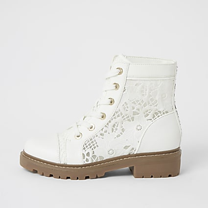 White lace detail ankle boots