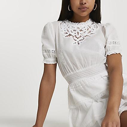 White lace detail dress