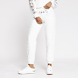 White lace detail jogger