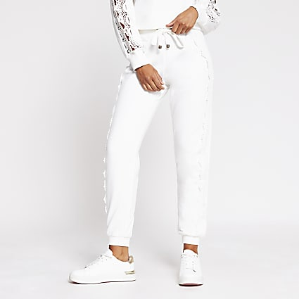 White lace detail jogger