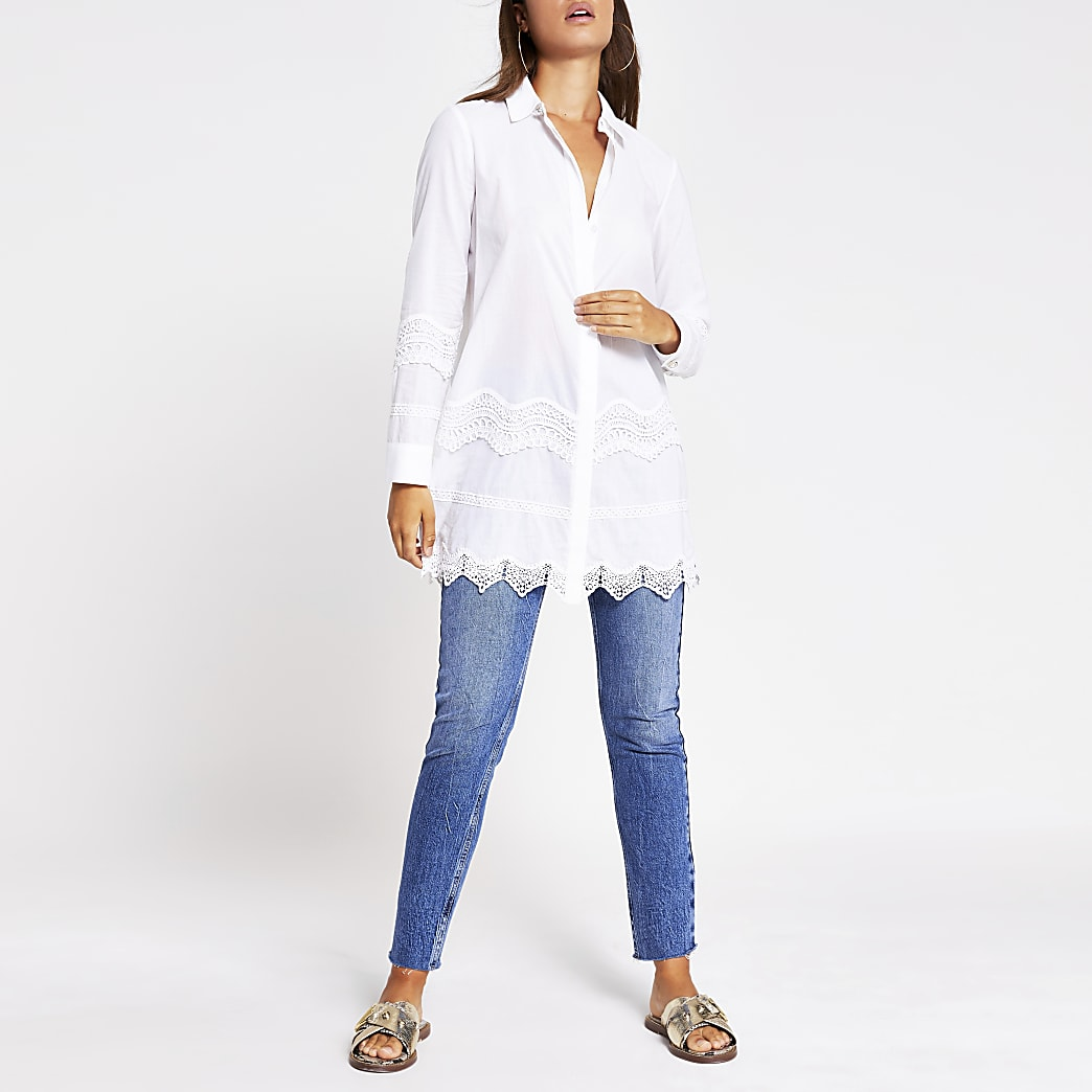 White lace embroidered longline shirt