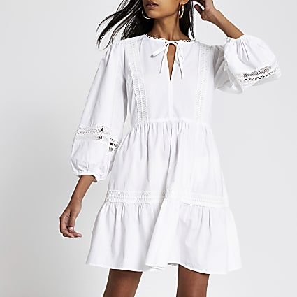 White lace embroidered mini smock dress